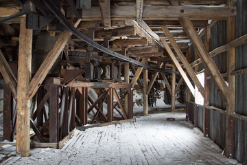 Inside of an abandoned Arctic coal mine buildings in Longyearbyen