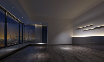 Dimly lit room with counters facing skyline