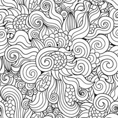 Black and white wavy seamless pattern