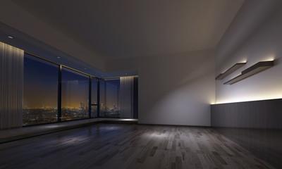 Dimly lit empty room facing urban skyline
