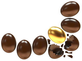 Chocolate eggs and one golden egg isolated on white background