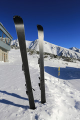 Mountain ski on snow