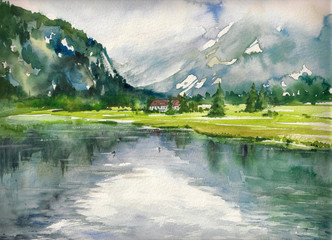 Summer landscape with mountain lake painted with watercolors