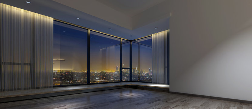 Empty dark office space with view of city