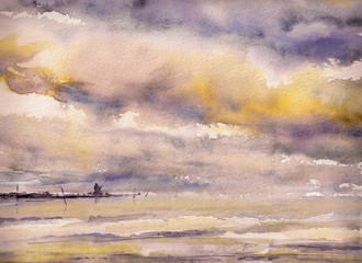 Watercolors painting of a fisherman on the rocks under  drmatic sky.