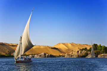 In de dag Egypte Egypt. The Nile at Aswan. Felucca cruise