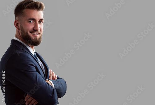 Portrait Von Sympathischen Mann Mit Bart Stockfotos Und