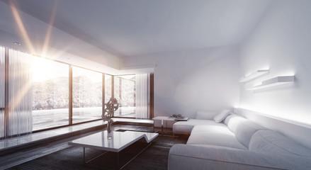 Bright Sunlight Shining Window of Luxury Home