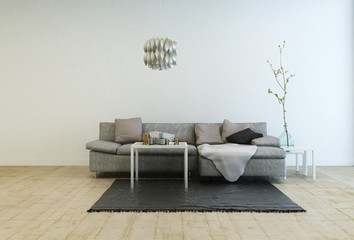 Gray Sofa in Living Room with Wood Floor