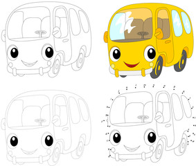 Cartoon yellow bus. Vector illustration. Coloring and dot to dot