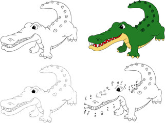 Cartoon crocodile. Coloring book and dot to dot game for kids