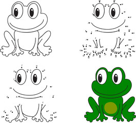 Cartoon frog. Coloring book and dot to dot game for kids