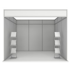 Trade Show Booth Expo Box. 3D White and Blank.