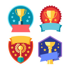 Cup winner logo. Emblems set. The idea of achieving victory. Logo competition. Trophy in flat style. Vector sign template.