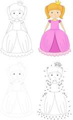 Cartoon princess. Dot to dot game for kids