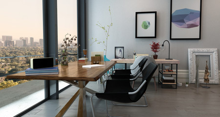 Spacious Home Office Space in Apartment with View