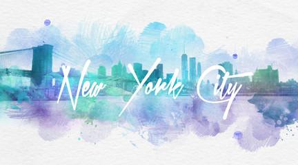 Watercolor New York City postcard
