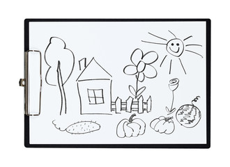 Clipboard and paper sheet with pencil drawing rural house and kitchen garden, isolated object