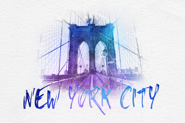 Front view of Brooklyn Bridge with NYC text