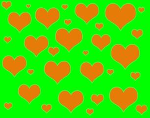 Зеленый фон с сердцами.