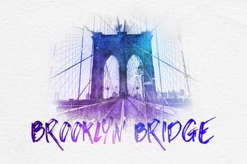 Brooklyn Bridge postcard graphic