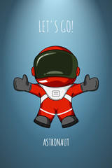Hand drawn cartoon vector illustration astronaut in spacesuit who drop and flies. Concept zero gravity, travel.