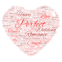 Conceptual Valentine heart word cloud