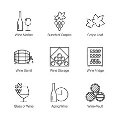 Outline, linear, thin line, stroke wine icons