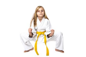 Portrait of beautiful blonde girl in kimono training ashihara m