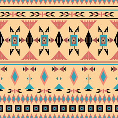 American Indians, seamless pattern, vector illustration