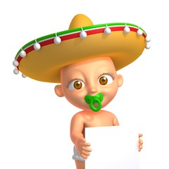 Mexican baby 3d illustration