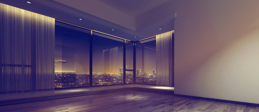 View of city from empty room