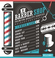 Barber Shop vector price list template