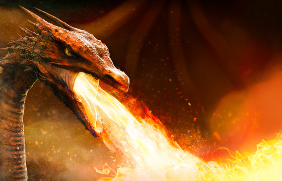 angry dragon spitting fire