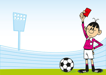 The illustration shows a cartoon of an arbitrator on the football field, which holds the red card in his hand
