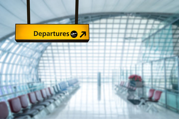 Fototapete - Airport sign deporture and arrival board
