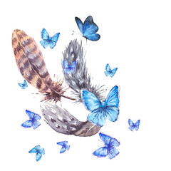 Watercolor greeting card with feathers and blue butterflies