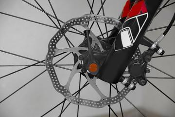 of mountain bike, front wheel