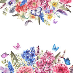 Watercolor  vintage flowers bouquet in the nest with butterflie