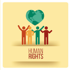 Human Rights Design over yellow color background