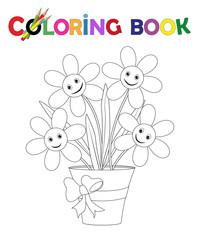 Ausmalbild Blumentopf mit Blüten und Schleife Vektor Illustration isoliert auf weiß