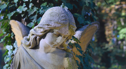 Vintage image of a sad angel on a cemetery against the backgrou