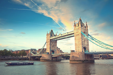Fotobehang London Tower bridge at sunset, London