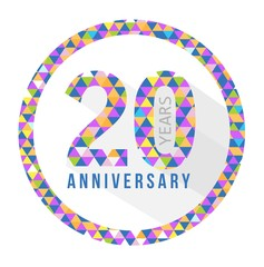 20 year anniversary triangle shape sign pattern