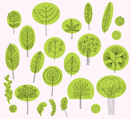set of vector trees symbols,sketch of tree pattern for exterior design, Organic, bio, natural design elements