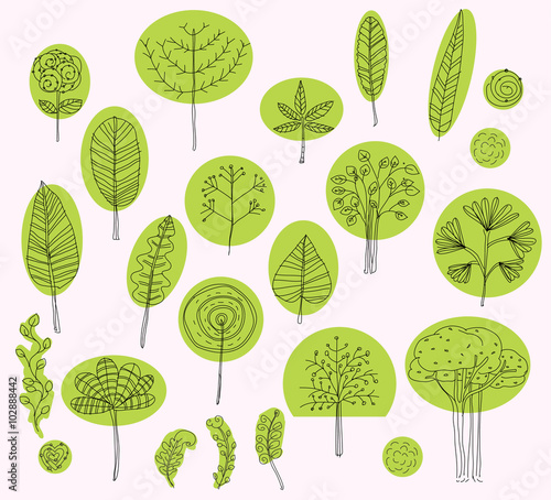 Set of vector trees symbols sketch of tree pattern for for Exterior design elements