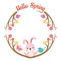 Tree With Animal On Circle Frame, Spring Season, Lettering, Frame, Border, Animal, Nature