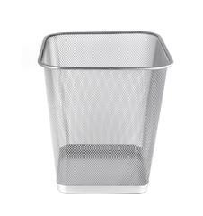 Empty iron trash bin isolated on white