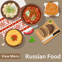 Russian food. Flat Lay Style Illustration. Vector illustration EPS10.
