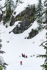Alpental WA - 2/7/16: Skier Snowboarder Ski Patrol Mountain Rescue Below Cliff